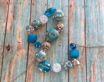 Beaded Necklace, Blue Southwest Necklace, Southwest Jewelry, Southwestern Jewelry, Necklace, Gift For Her