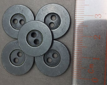 28L(Diameter 18mm) 2 hole Metal Sew On Button, Electroplating Black Color (25 Pcs)