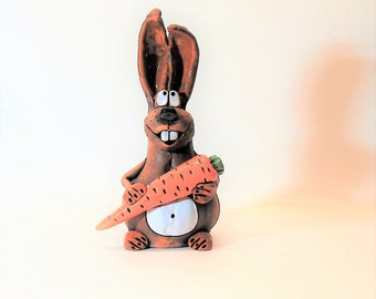 "Piggy bank. Coin bank ""Rabbit with carrot"" .Money bank.Piggy bank vintage.Easter."