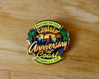HARLEY PIN: Mississippi Gulf Coast - Cruisin' The Coast 10th Anniversary Biker Lapel Pin - Great Gift!