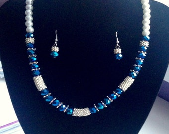 Blue and White Beaded (Jewellery Set)