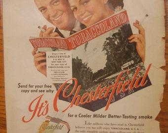 1941 Chesterfield Cigarettes Magazine Ad, Smoking room wall decor