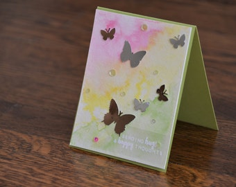 Shining Butterfly Card - Mothers day, birthday, thinking of you, get well soon, happy hugs, colorful, bright, Beautiful, Elegant, dreamy