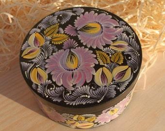 Black box Purple flowers Folk box Petrykivka hand painted Wooden gift for women Gift for her Gift for Easter