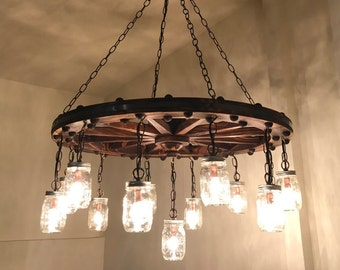 Wagon Wheel Chandelier With Mason Jar Lanterns Handmade Mason Jar Chandelier