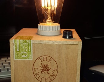 The Griffin's Cigar Box Lamp with Edison Bulb