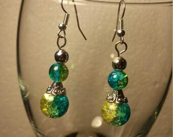 2 tone blue/green earrings