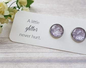 Lavender earrings, Lavender bridal shower, Glitter earrings, Lilac earrings small, Bridesmaid jewelry, Lavender jewelry, Lilac jewelry