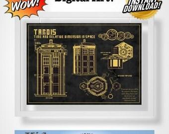 Doctor Who Tardis Blueprint Quote Digital Art!