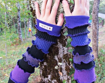 Short arm in black and purple patchwork of recycled wool mittens/heating!