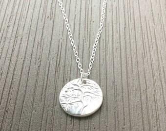 Silver Circle,Silver Tree Necklace,Silver Circle Tree Pendant,Silver Tree Pendant,Silver Circle Necklace,Silver Tree Charm,Round Tree Charm