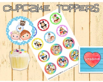 "Tsum Tsum printables 2 "" circles  cupcake toppers stickers"