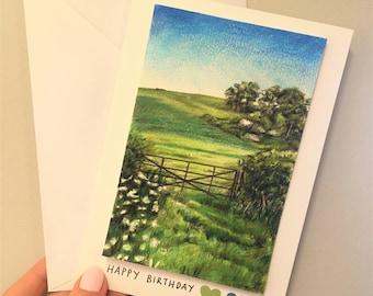 A6 Handmade Happy Birthday Landscape Card ORIGINAL ARTWORK