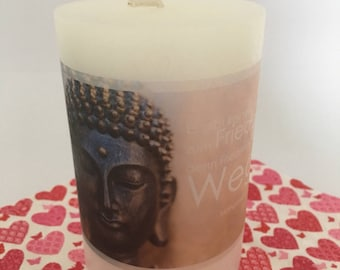 Candle with Buddha Bild, Buddha with saying