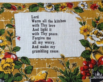 Kitchen Prayer 1973 Vintage Dish Towel