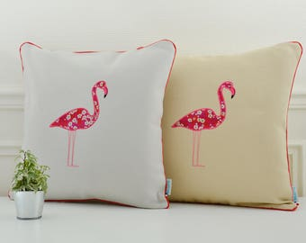 Embroidered Flamingo cushion cover 16 x 16 inch, limited edition on grey or beige background