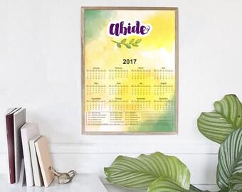 Wall Calendar   2017 Yearly Calendar, Printable Calendars, Calendar 2017 PDF, Digital Calendar, Christian Calendar, Office Decor, Printable