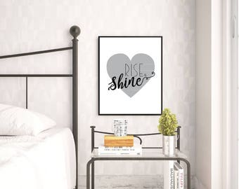 Rise & Shine Wall Print - Wall Art, Home Decor, Bedroom Print, Nursery Print