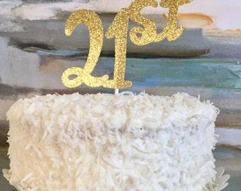 21st Birthday Glitter Cake Topper