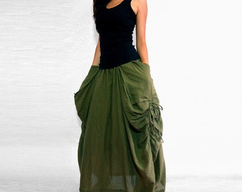 Lagenlook Maxi Skirt Big Pockets Long Skirt - in Olive Army Green Cotton Long Skirt SK001