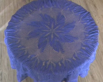 Round lace knitted tablecloth 47in