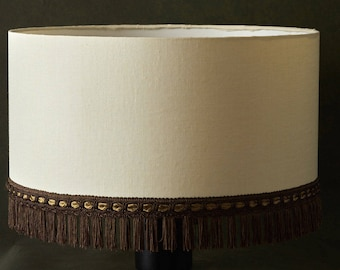 Anna French large made to order bespoke 50 45 40 35 30 cm cream cotton lamp shade with trim
