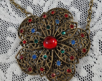Vintage Up Cycled Filigree and Rhinestone Pendant Necklace
