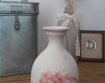 flower vase, poterie vase, vintage vase, white ceramic, handmade vase, shabby chic, bohemian decor