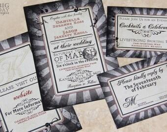 NeoClassic, Steampunk Wedding Invitation set. Goth style wedding invitations with a steampunk twist.