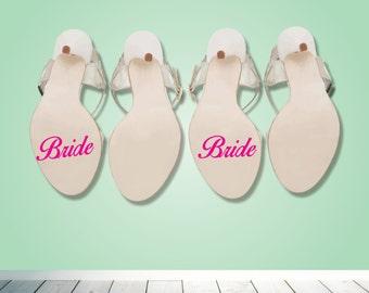 Bride Bride wedding shoe heel sticker - Brides decals - something blue - Wedding day - Bride  and Bride shoe decal - Gift
