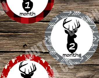 Baby Boy Monthly Milestone Markers Printable Instant Download Deer Antlers Arrows Hunting Plaid Rugged Woodsy Woodland Outdoor Photo Props