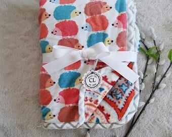 Minky flannel baby blanket, take home blanket, neutral gender blanket, hedgehog blanket,newborn blanket, toddler blanket, minky blanket