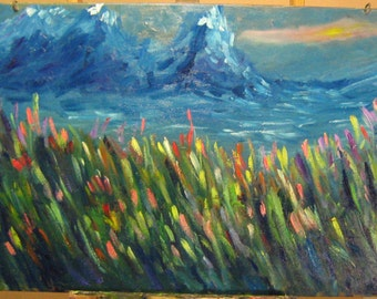 """Mountain Flowers,48x24"""". ( art,original,custom,oil,painting,maxwellbrown,mountains,nature,landscape,impression,expression)"""