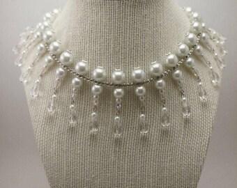 Bridal Bib Necklace, Bridal Collar Necklace, Pearl and Crystal Bridal Neckace