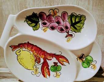 Ironstone Ware Underglaze Handpainted Lobster Divided Serving Dish. Made in Japan