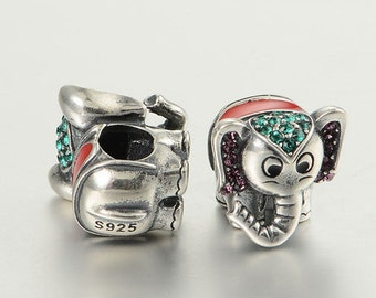 sterling silver charms Authentic silver Elephant charm beads perfect fit for Pandora and troll or European bracelets