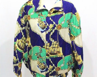 SALE* Vintage Clothing •1980's Silk Bomber • Aquatic Theme with Tall Ship Design •80s Streetwear • Shoulder Pads •Kitschy Baroque Trend