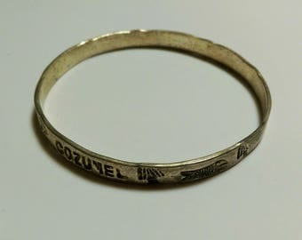 "Vintage Cozumel Mexico Fish And Trees Silver Bangle 2-3/4"" x 1/4"" 1990's"