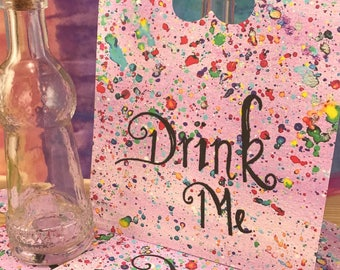 Oversized Alice in Wonderland Drink Me Tags Made-To-Order|Oversized Drink Me Tags|Alice in Wonderland Decorations|Whimsical Tags|Party Tags