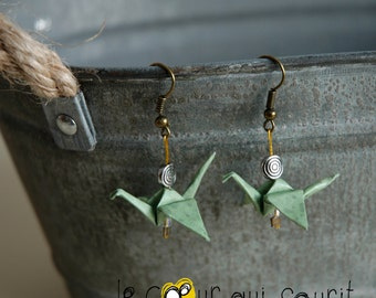 (Crane) - G004 origami earrings