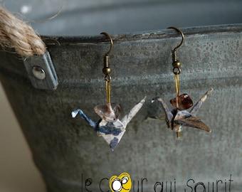 (Crane) - G005 origami earrings