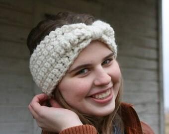 Crochet chunky headband, cinched headwrap, knit earwarmer, vintage-inspired, chunky earwarmer, winter style, women's earwarmer