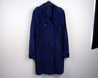Indigo Purple Suede THEORY Trench with Muted Charcoal Buttons
