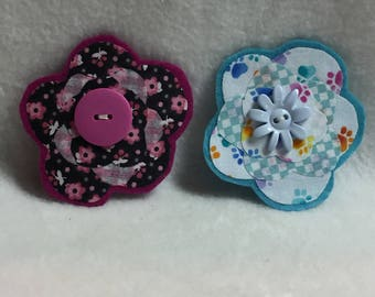 Flower Hair Clips - Set of 2 (#002)