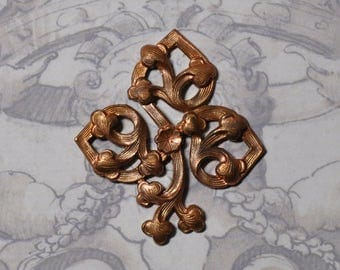 Vintage French Art Nouveau Organic Style Fleur de Lis Thick Brass Stamping Made with Antique Tooling 1 Piece 385J
