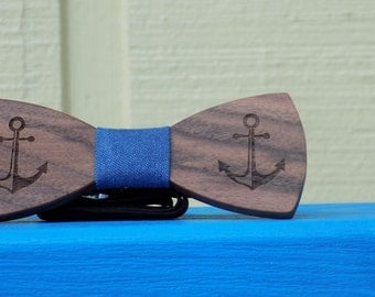 Nautical Anchor Wooden Bow Tie - Perfect Preppy Accessory