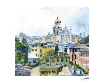 Watercolour of Santa Margherita Ligure, painting of italian landscape, colored house fronts, drawing of italian architecture, cityscape