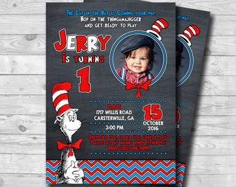 Chalkboard Dr Seuss Birthday Invitation-Dr Seuss Cat in the Hat Party-Dr Suess Boy 1st Birthday Invitation-Digital Printable invitation