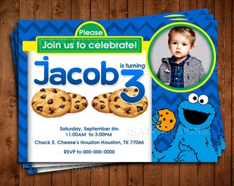 COOKIE MONSTERS Digital Personalized Invitations - Cookie Monster Invites - Cookie Monsters Birthday Party Invitations - Photo Invites