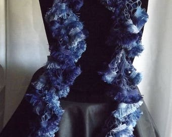 Ruffle Scarf - Blue with fringe